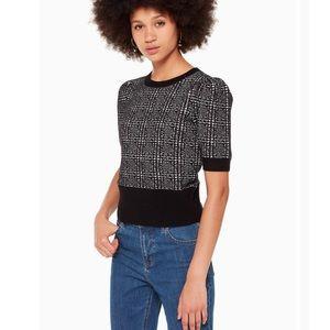 NWT Kate Spade Mod Plaid Black Sweater Size XS